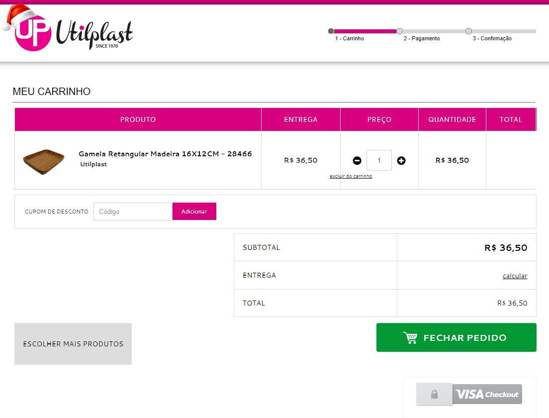 0285e583db Interior de um carrinho de compras e-commerce da loja virtual da Utilplast  (cliente